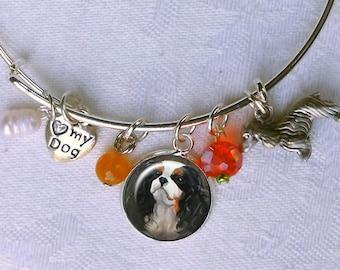 Custom Dog Charm Bracelet ~ From Your Photos ~ Wire Bangle Charm Bracelet