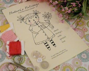 Do small things Raggedy ann Stitchery Pattern PDF - embroidery doll e flower primitive prim pillow tuck pincushion