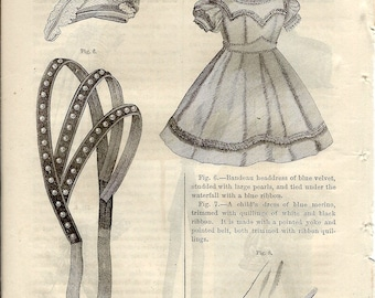 Godey's 1866 Lady's Book Vintage Victorian Book Plate Etching Child's Dress & Bonnet or a Ladies Bodice to Frame or Paper Arts PSS 2818