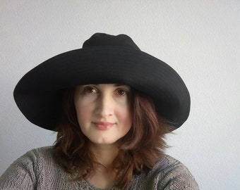 Black cotton sun hat