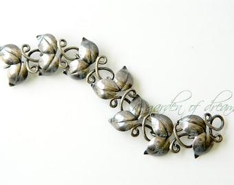 Birger Haglund studio Swedish sterling silver double leaf bracelet retro handcrafted designer mid century Scandinavian modern 1946