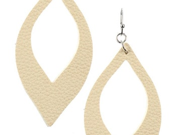 Cutout Leather Look Marquise Earrings - Ivory