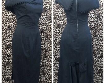 50's bad girl Bombshell black rockabilly wiggle hourglass show stopper pencil skirt dress vlv