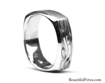 Fl07 Mens WEDDING BAND Square - Comfort Fit - Brushed Satin high polish Finish - Platinum - Hand Etched - Beautiful Petra - BPM07