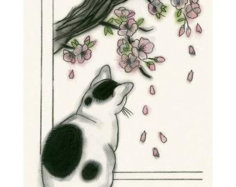 "Cat print - Cat Artwork  Zen Kitten - 4"" X 6"" - 4 for 3 Sale"