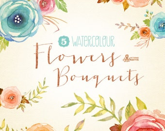 Watercolour Flowers Bouquets Digital Clipart. Hand painted, watercolor floral, wedding diy elements, flowers, rose, invite, printable, png