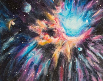 Nebula art painting Cosmos painting Outer space art Original acrylic art Canvas painting Astronomy art Science fiction art Space nebula art