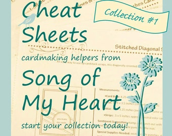 Cheat Sheets Collection #1: Instant Digital Download cardmaking tutorials, sketches, rubber stamping w/ complete instructions & measurements