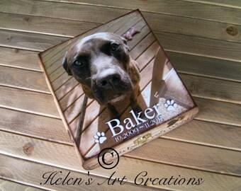 Pet Memorial Box, Pet Keepsake Box, Dog Urn, Wood Urn, Personalized Keepsake Box, Pet Portrait, Custom Pet Photo, Animal Box
