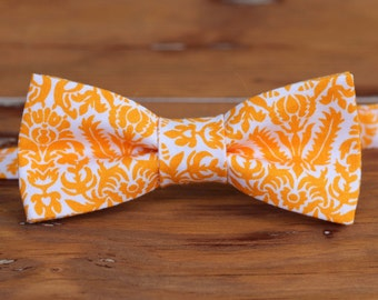 Boys Orange Floral Bow Tie, orange white cotton bow tie for boys, wedding bow tie, infant bow tie, toddler bow tie, childs bow tie, gift