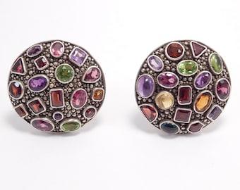 Designer Sterling Silver Domed Gemstone Encrusted Earrings