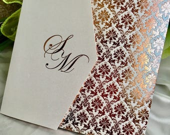 Pattern Foiled wedding invitations with Initials Personalised - Pocketfold Card - Bespoke -