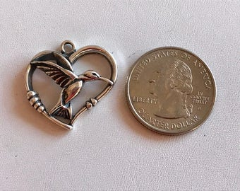 Hummingbird Charm-Sterling Silver Charms-Heart Charm