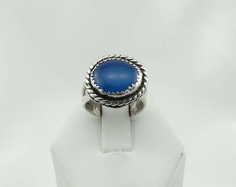 Gorgeous Natural Blue Chalcedony Sterling Silver Ring FREE SHIPPING!  #BLUE-SR6