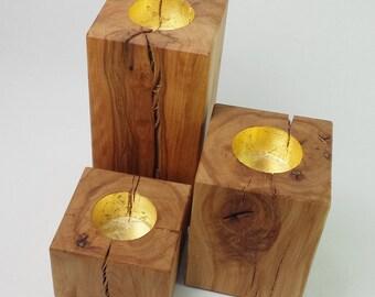 Set: Kerzenständer Buche massiv, Leinöl