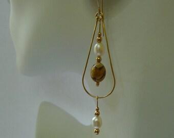 Gold-filled Picture Jasper and Pearl Teardrop Earrings