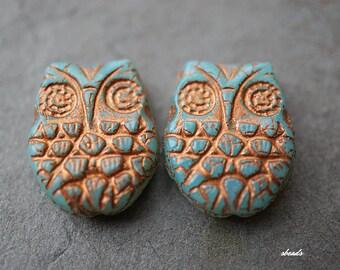 Aqua Blue Owl, Czech Beads, N1764