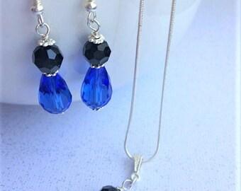 Navy Blue Bridesmaid Earrings, Blue Crystal Earrings, Black Crystal Earrings, Black Blue Wedding, Blue Bridesmaid Jewelry, Jewelry Set