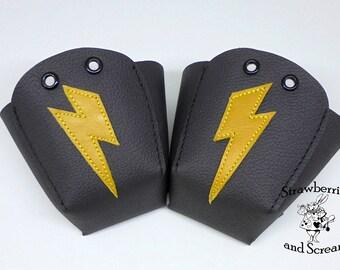 Black Leather Roller Derby Skate Toe Guards with Lightning Bolts
