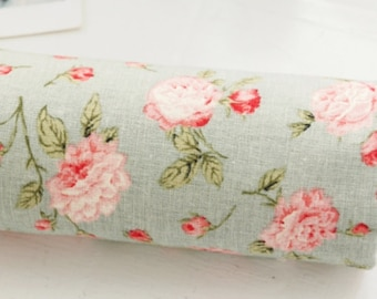 Cotton Linen Fabric Vintage Rose Mint Green By The Yard
