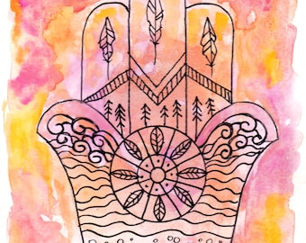 Hamsa Hand 3 - Watercolor and Ink on Paper