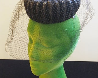 Antique Vintage Black Velvet Pill Box Formal Evening Hat and Veil Miss Sally Victor