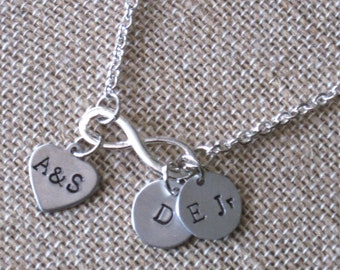 Handmade and Hand Stamped Infinity Necklace, Women, Valentine, Mothers, Personalized