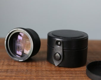 Vintage Japan 1.5x Telephoto Conversion Lens for Camcorder with Original Round Leather Lens Case