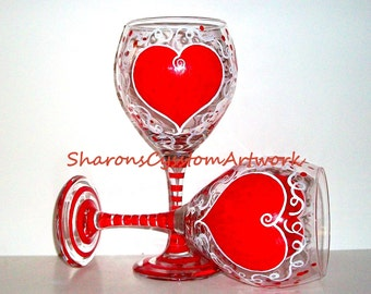 Valentine's Day Red Hearts Hand Painted Set of 2 - 20 oz. Wine Glasses Personalized Lover Gift for lover Girl Friend Wife Romantic
