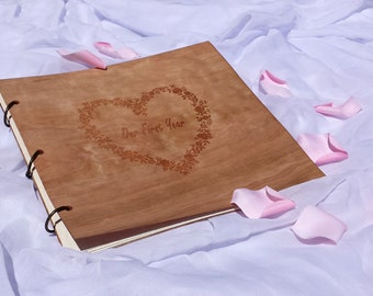 Photo Album Wood Engraved/Wedding Guest Book Wood /Wood Cover Guest Book/Flower Heart Design Photo Album/Wood Gift Album/Wedding Photo Album