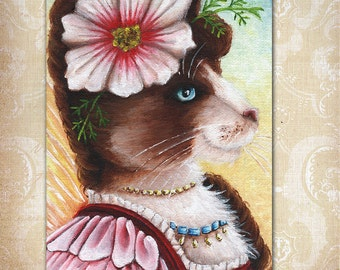 Cosmos Fairy Cat Flower Fantasy Art 5x7 Fine Art Print CLEARANCE