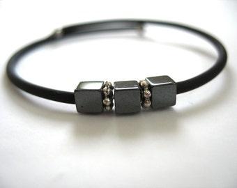 Hematite Bracelet, Hematite Stone Bracelet , Handmade Gemstone Cuff Bracelet