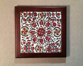 Suzani Pattern Framed 6 Inch Square Framed Ceramic Tile that can be used as both wall art and trivet