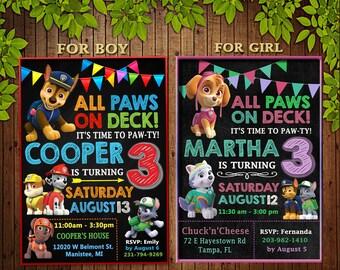Paw Patrol Invitation, Paw Patrol Birthday Party, Paw Patrol Birthday Invitation, Personalized, Dogs Invite, Paw Patrol Digital File