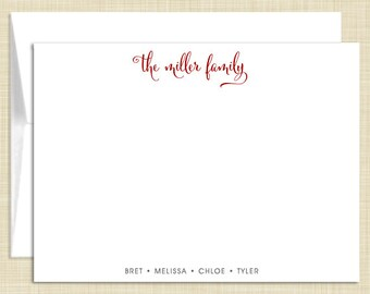 Personalized Flat Note Cards Stationery Set - Family Names - personalized stationary - set of 10 - choose color and font