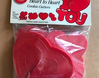Heart to Heart Cookie Cutters - Set of 4 - Wilton, 1990, Valentine's Day!