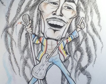 Bo b Black and White Rock Caricature Rock Portrait Music Art by Leslie Mehl Art