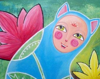 Original Painting 30x40  Mixed Media Fantasy Art Deco Floral Cat