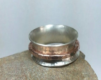 Sterling Silver Dimple Textured Worry Ring / Spinner Ring / Meditation Ring with Copper Outer Ring - Made-to-Order