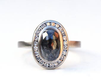 Black and white diamond ring, Diamond halo ring