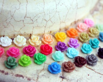 Teeny tiny rose earrings -- many colors available