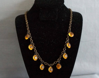 Antique ART DECO AMBER Faceted Glass Bead Necklace