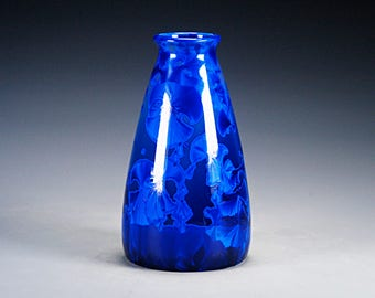 Ceramic Vase - Blue - Crystalline Glaze on High-Fired Porcelain - Hand-Made Pottery - FREE SHIPPING - #Y-117