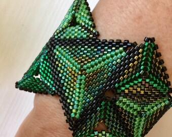 Funky Geometric Green Cuff Bracelet