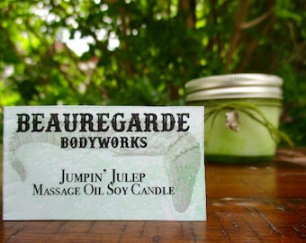 Massage Oil Candle With Soy Wax & Essential Oils / Jumpin' Julep / Soy Candles / Aromatherapy / Made To Order / Natural / Southern/ Vegan