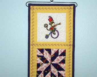 Circus monkey mini quilted wall hanging, hanger included