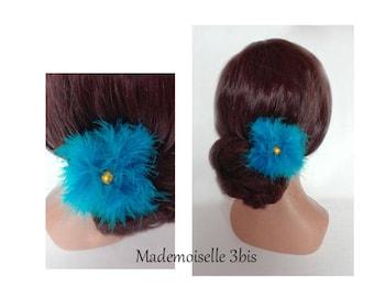 bun turquoise feather Federschmuck, wedding, wedding hat, hair stick hair pin