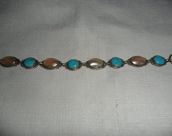 Vintage Turquoise and Mother of Pearl Sterling Silver Bracelet Size 7.5