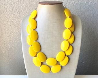 Big Bead yellow Necklace, Double Strand Statement Jewelry, bright yellow Chunky bib bridesmaid, yellow jewelry, yellow necklace beaded