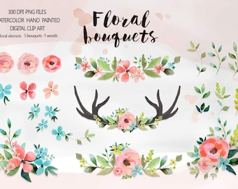 Watercolor Flower Clipart, Wedding floral Clip art, Floral Bouquet Clipart, wedding flowers clip art, Watercolour wedding Clip Art